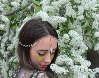 Crystal Head Chain, Festival Hairpiece, Crystal Hairband