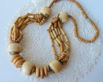 Multistrand Gold Tribal Necklace Vintage Chunky Bone Necklace Bone Color Ethnic Multi Strand Necklace Boho Vintage Jewelry, Costume Jewelry