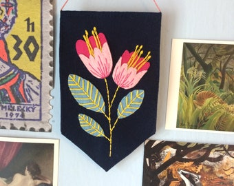 Hand-stitched Felt Floral Wall Hanging