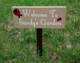 Custom Garden Sign, Personalized Garden Sign, Weatherproof Garden Name Sign, Outdoor Garden Sign, Welcome To My Garden, Ladybug Garden Sign