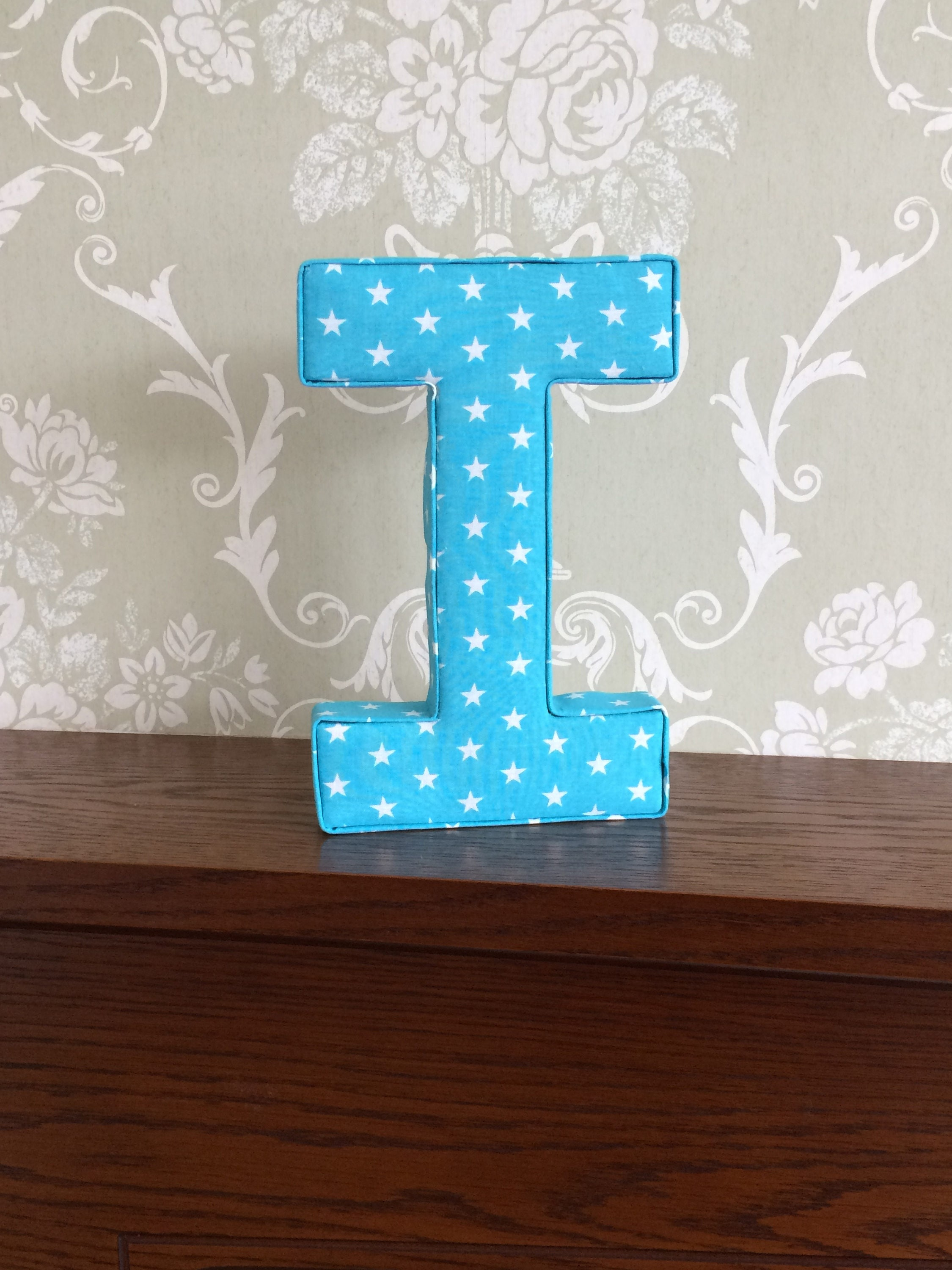 Turquoise unisex nursery wall art fabric letters for Fabric covered letters for nursery