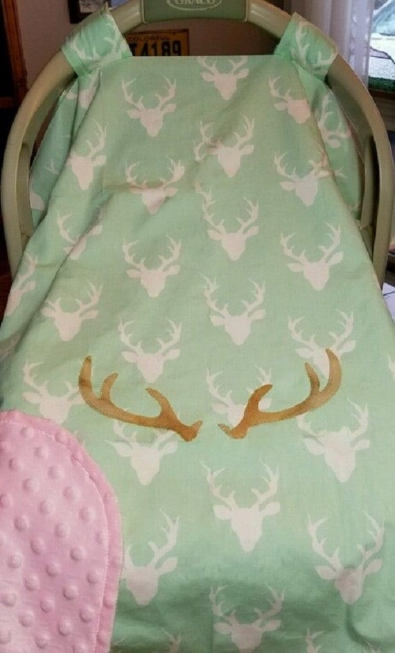 Car Seat Canopy Cover Mint Our Little Buck Or Doe Camo Baby