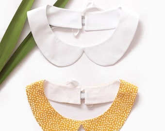 Box of two removable Peter Pan collar white and yellow flowers - fake collar cotton fabric - mum's day gift