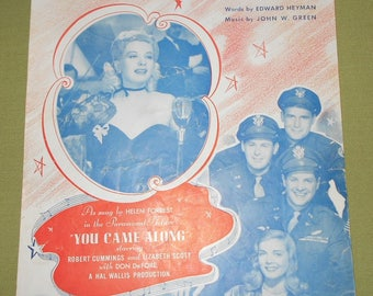 1931 Sheet Music ~ You Came Along - Featuring Helen Forrest