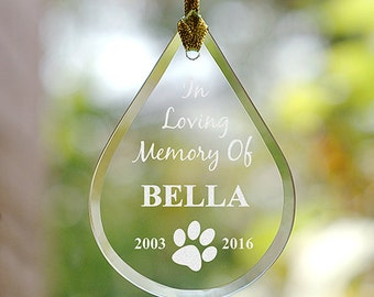 Pet Memorial Tear Drop Ornament, Personalized Pet Ornament, Paw Print Ornament