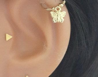 Gold Butterfly Cartilage Earring, Endless Hoop Cartilage Earrings, Tragus, Helix  Earring, Lobe Ear Piercing, 16-22 Gauge,6-11mm Diameter