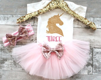 Baby Girl Clothes 3rd Birthday 3 Unicorn Tutu Set, Unicorn Birthday, Unicorn Shirt, Unicorn birthday shirt, Unicorn tutu outfit, Unicorn