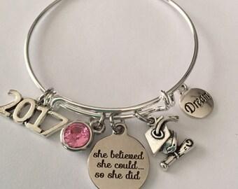 graduation bracelet-she believed she could so she did-2017