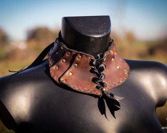 Leather choker necklace dark brown