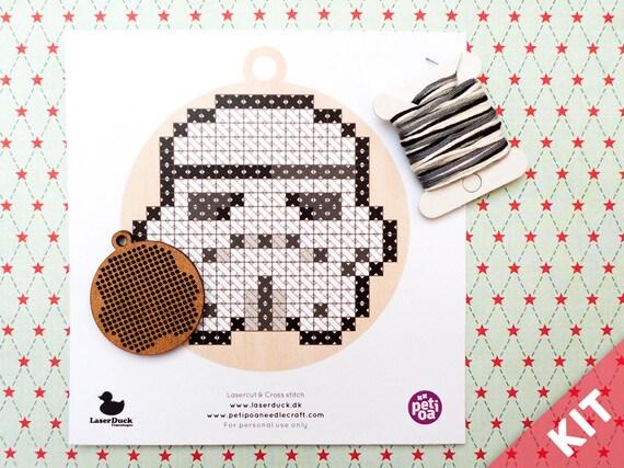 Cross Stitch Kit - Stormtrooper Lasercut DIY ornament, pendant or keyring