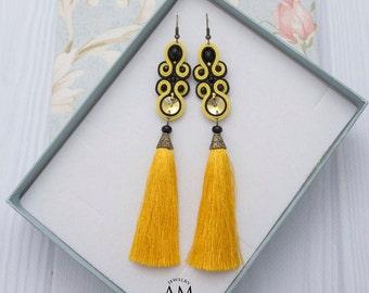 Yellow Earrings Beaded Tassel Earrings Black Dangle Earrings Boho Silk Tassel Earrings Soutache Jewelry