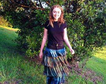 SZ 8-10 Gypsy Skirt Hand made and Eco printed with plants, women fashion, silk, Natural dyes, Beautiful, Sustainable