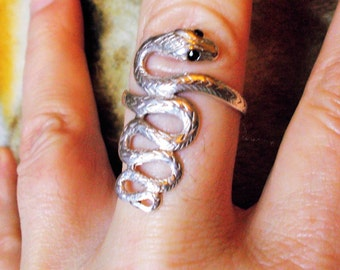 Solid sterling silver and sapphire snake ring size 10.5