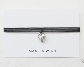 Make a wish bracelet, friendship bracelet, wish bracelet, heart bracelet, W34