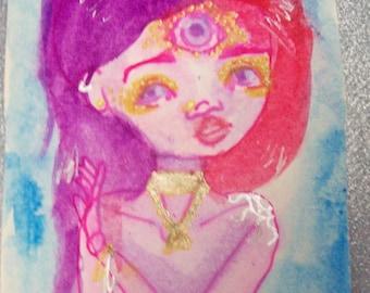 Mother Goddess: Original Pen and Watercolor Painting (Odd, nature, third eye, three eyes, weird art, doll)