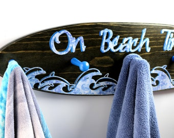 Large Surfboard towel rack FREE PERSONALIZATION,  surfing dolphins