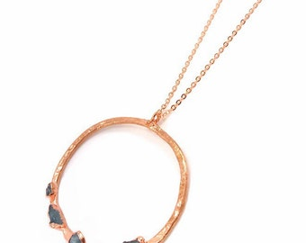 Raw Stone Pendant, Apatite Necklace, Raw Crystal, Electroformed Pendant, Copper Necklace, Hammered, Blue Gemstone, Rough, Nugget, Healing