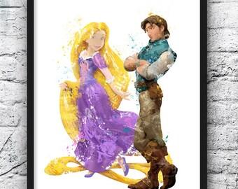 Rapunzel Watercolor Print, Disney Art, Tangled, Flynn Rider, Movie Poster, Wall Art, Home Decor, Kids Room Decor, Nursery Art  - 676