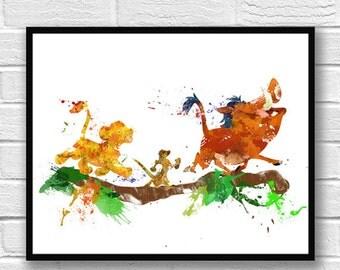 The Lion King Watercolor, Simba Art Print, Timon and Pumba Watercolor, Art Poster, Movie Poster, Nursery Art Decor, Kids Room Decor - 704