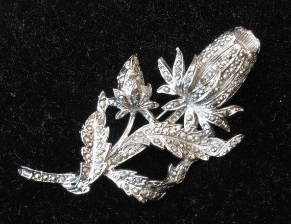7cm MARKASITE VINTAGE BROOCH - 1940's - Roses - Silver Jewellery - Romantic - Valentine's Gift - Gifts for her