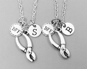 Best friend necklace, pliers neckalce, personalized necklace, bff necklace, pliers charm necklace, initial necklaces, monogram, tool charm