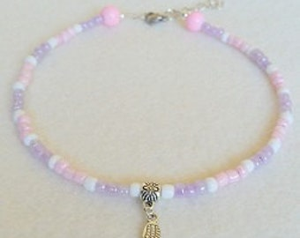 Pink and Lilac Glass seed bead anklet with charm