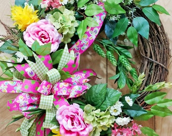 Pink Rose Grapevine Wreath - Whimsical Bow - Triple Bow - Mother's Day - Housewarming - Spring Summer Wreath - Butterfly Gingham Polka Dot