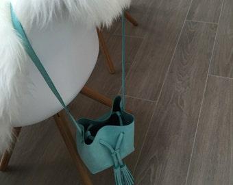 Summer Sale 20% off. Bucket bag of soft turquoise nubuck leather. Mini bucket bag.  Leather cross body bag. Leather shoulder bag. Handmade.