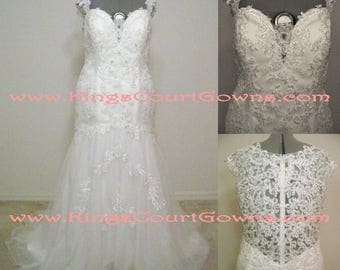 Replica Ivory Cap Sleeve Beaded Lace Trumpet Wedding Gown with Illusion Back Court Train