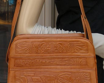 Beautiful Vintage Embossed Tooled Leather Purse Shoulder Bag MADE IN MEXICO