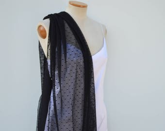 Tulle plumetis black, Gothic black scarf, black cocktail stole stole