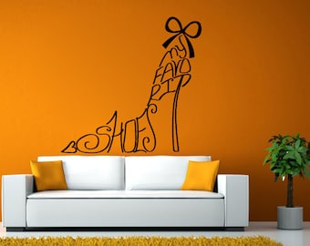Shoe Vinyl Decal | Wall Decal | Vinyl Decal | Shoe Decal | Wall Mural | High Heel Decal | High Heel Vinyl | High Heel Sticker | L1979