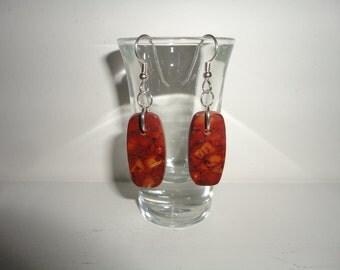 Lavic Jasper, Sterling Silver Dangle Wire Earrings
