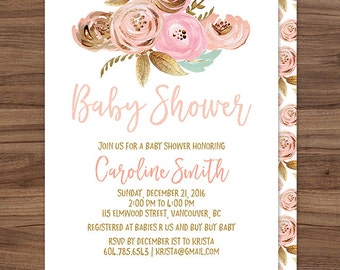 Pink Gold Baby Shower Invitation / Girl Baby Shower Invitation / Girl Baby Shower Invite / Pink and Gold Floral Baby Shower Invitation