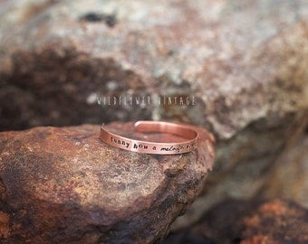 A melody sounds like a memory Copper Cuff Bracelet | Hand Stamped