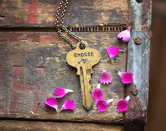 Choose Joy Key Necklace | Hand Stamped Vintage repurposed jewelry script