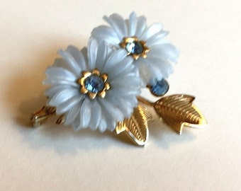 Vintage Molded Blue Plastic Flower with Rhinestones and Gold Tone Leaves Brooch