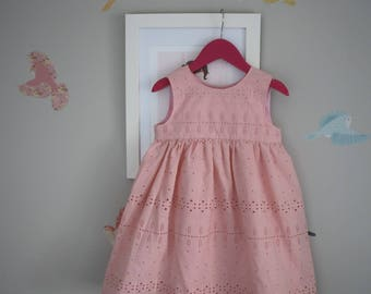 Broderie Girls Dress Size 3 / Geranium Dress / kids clothing / babies clothing  / Party Dress  Summer Dress 3T