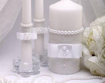 White Wedding Unity Candle Ceremony White unity candles set Wedding Unity Candle set Wedding candle Personalized candle White Wedding winter
