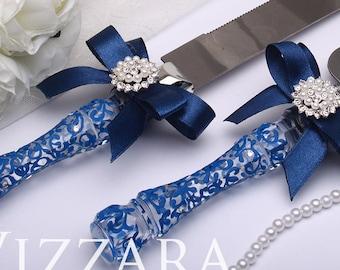 wedding cake knife set blue Wedding Navy blue Wedding Knife ENGRAVING Cake server and Knife Wedding Cake accessories Wedding knife for cake