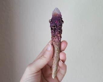 Darkshore Torch- Hand Sculpted Mushroom Encrusted Deer Antler, Spirit Quartz Crystal and Garnet Necklace/Wand