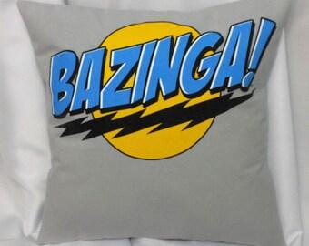 Big Bang Theory Bazinga tshirt made into a decorative throw pillow. TV show bedding repurposed from Sheldon Cooper Bazinga cotton tshirt.
