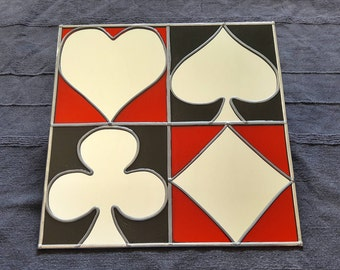 """Hand Made 'Card Suits' Mirror 12""""x12"""""""