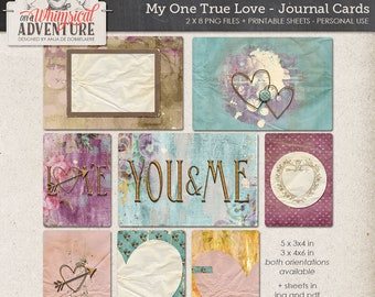 Valentine digital scrapbooking, digital download printable journal cards collage sheet, vintage romantic love, art journaling, cards