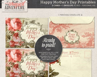 Mother's Day printable collage sheet instant download Happy Mother's Day printable postcard envelope vintage roses romantic stationery