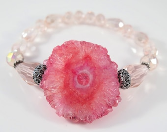 Bright Pink Stalactite with pink crystals, Big Stalactite Stretch Bracelet, Summer Stalactite sale, Regular Price  32.00  #1207B