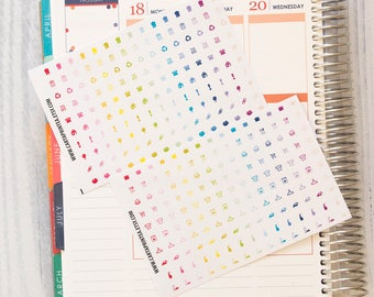 "300 TINY functional stickers, 0.25"" planner stickers kit set, daily chore sticker, ec hourly happy planner filofax kikki.k day designer"