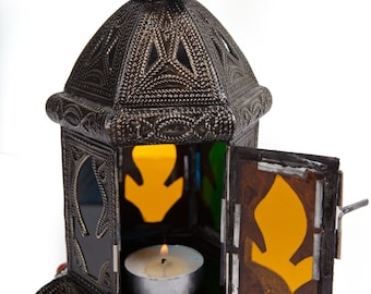EXOTIC MOROCCAN LANTERN Handmade Vintage Metal Moroccan Lantern with Intricate Embossed Metal and Stained Glass Designs