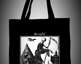 Black cotton tote bag with medieval illustration MORTALITÉ ,ecological white ink