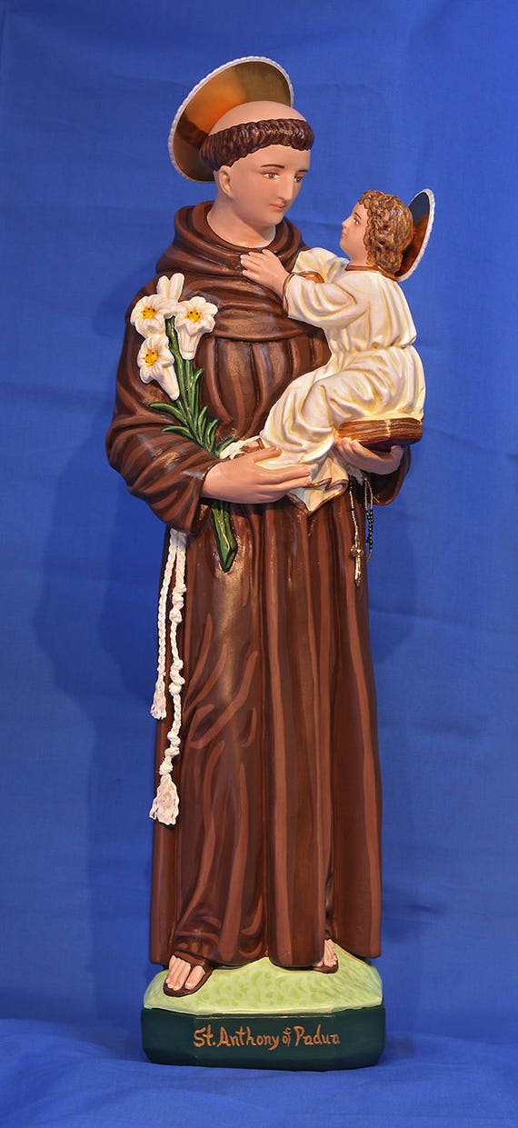 "St. Anthony of Padua 26"" Catholic Christian Franciscan Religious Chalkware Plaster Statue"